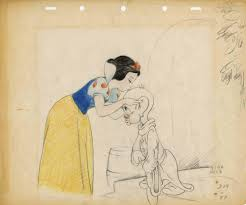 original production layout drawing of snow white and dopey from