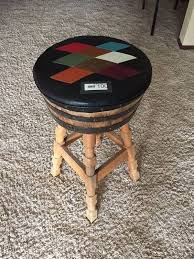 brothers furniture vintage whiskey barrel bar stool argyle leather