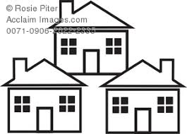three houses illustration of the outlines of three houses