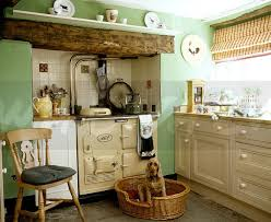 Green Country Kitchen Image Cocker Spaniel Sitting In Basket In Front Of Aga In