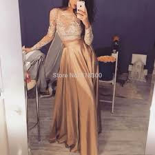 com buy two piece prom dresses long sleeves gold prom dress with