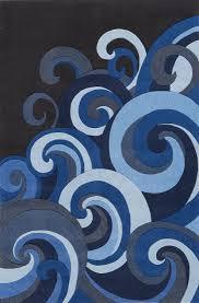 Blue And Black Rug Amazon Com Blue Wave Hand Tufted Mod Acrylic Rug Lil Mo Hipster