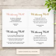 printable wedding wishing well card any colour wishing well poem
