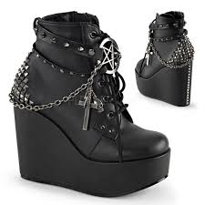 womens wedge boots size 9 demonia poison 101 s studded straps lace up wedge platform