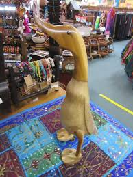 funky stuff hand carved bamboo root duck 43 cm tall home decor