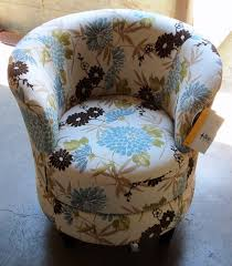 decoration ideas favorable white floral fabric upholstered barrel