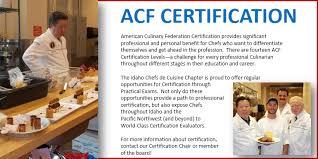 stages de cuisine acf idaho chefs de cuisine certification