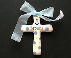 painted personalized cross ornament baptism
