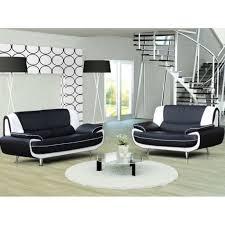 canap 2 places noir ensemble canapé 3 2 places noir et blanc design achat vente