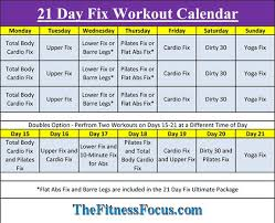 21 day fix workout schedule u0026 portion control diet sheets