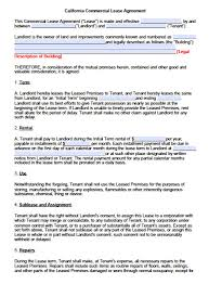 free california commercial lease agreement pdf word doc