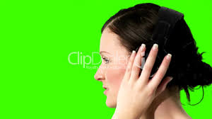 green screen of a woman listening to music royalty free video and