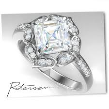 moissanite vintage engagement rings princess cut moissanite ring antique engagement ring unique
