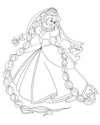 cartoon printable rapunzel and flynn wedding coloring pages