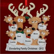 reindeer family of 7 family ornament family