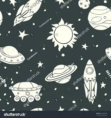 seamless pattern space rockets planets stars stock vector