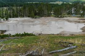 mud volcano area in yellowstone national parked