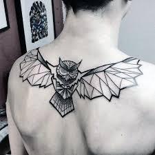 tattoo geometric outline unique black ink outline geometric owl mens tattoo on upper back jpg