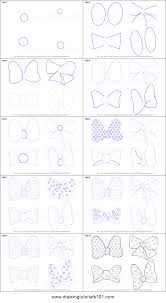 draw minnie mouse bow tie printable step step drawing