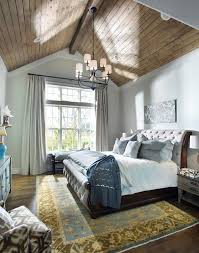 Chandelier For Cathedral Ceiling Wood Vaulted Ceiling Bedroom Farmhouse With Cool Color Palette