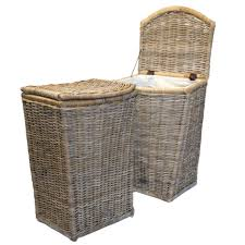 Cane Laundry Hamper by Tall Grey Shaped Laundry Basket With Calico Lining Roudham Trading