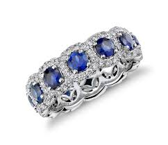 saphire rings sapphire and diamond halo eternity ring in 18k white gold blue nile