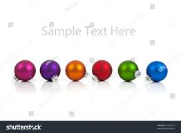 row multicolored christmas ornamentsbaubles including pink stock