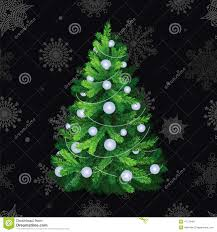 beautiful christmas tree with white balls stock vector image