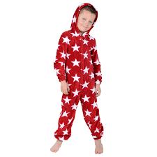 boys hooded fleece all in one pyjamas jump sleep suit pjs