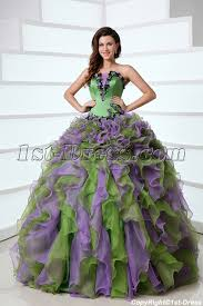 green quinceanera dresses ruffled affordable green and purple colorful quinceanera