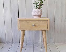 smoked mid century modern inspired nightstand oak bedside