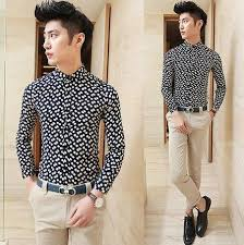 fancy casual promotion 2014 sleeve fancy print casual shirts