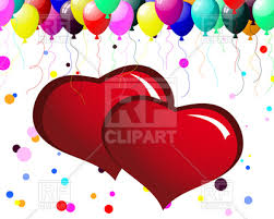 valentines balloons s day card with hearts and balloons vector clipart image