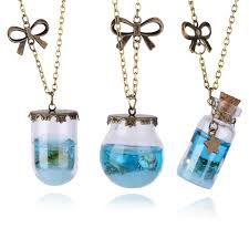 glass star pendant necklace images New fashion mermaid tears shells star vial necklace sea ocean jpg