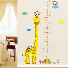 de bande dessinée girafe singe hauteur mesure stickers muraux
