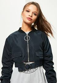 petite navy oversized ring pull crop er jacket missguided