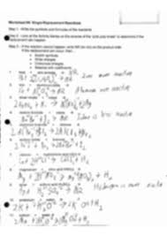 single replacement reaction worksheet key single replacement