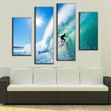 online get cheap hawaii life aliexpress com alibaba group 2017 4 panel modern seascape canvas prints surfing in hawaii wall paintings home decor for living