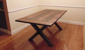 somerset crossed leg dining table farmhouse reclaimed wood