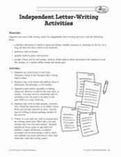 independent letter writing activities teachervision