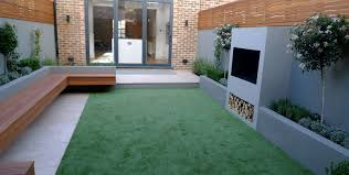 modern garden designer london artificial grass hardwood seat