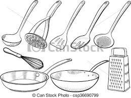 dessin ustensile de cuisine croquis ustensile cuisine équipement vaisselle