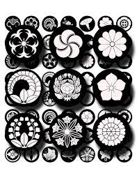 Asian Design Black And White Japanese Crests Flowers Asian Design Digital