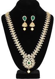 long necklace designs images Elegant peacock design cz emerald stone long necklace set with jpg