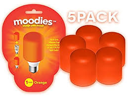 moodies 5 pack of orange heat safe silicone light bulb covers for