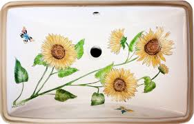 hand painted sunflower under counter sink farmhouse bathroom