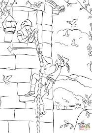 prince climbs up rapunzel u0027s tower coloring page free printable