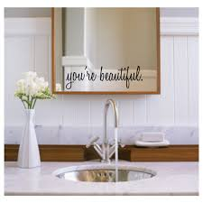 inspirational wall decals you re beautiful bathroom zoom