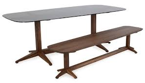 Glass Top Oval Dining Table Heal U0027s Span Dining Table Walnut Smoke Glass Top