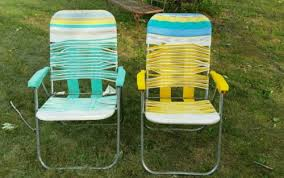 vintage plastic vinyl pair folding aluminum lawn chair tube strap